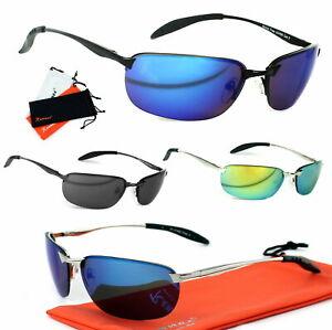 Schmale-Sport-Herren-Sonnenbrille-Metall-Verspiegelt-Randlos-Brillenbeutel-K4