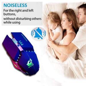 Mouse-Ricaricabile-Wireless-Ottico-USB-Gaming-Silenzioso-senza-fili-2400DPI-LED