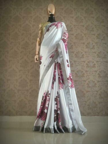 Saree New Japan Satin Floral Printed Saree With Stylish Sequence Work Blouse LA