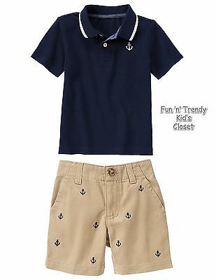 Short set for baby boys Size 6-12 months Gymboree Navy//White with strips 2 pc