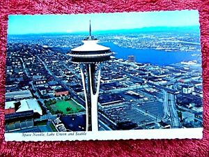 SPACE-NEEDLE-LAKE-UNION-AND-SEATTLE-USA-COLOUR-POSTCARD-498