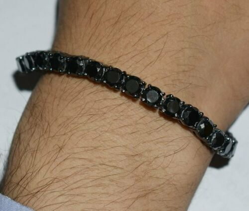 7.50Ct Round Cut Black Diamond Mend/'s Tennis Bracelet 14k Black Gold Over