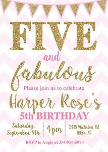 Image Is Loading Five And Fabulous 5th Birthday Pink Gold