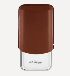 NEW-S-T-Dupont-Triple-Cigar-Case-Metal-amp-Leather-183021-Marron-Brown-ST