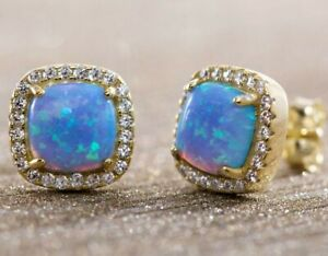 2-Ct-Round-Blue-Fire-Australian-Opal-Stud-Earrings-14K-Yellow-Gold-Jewelry-E36