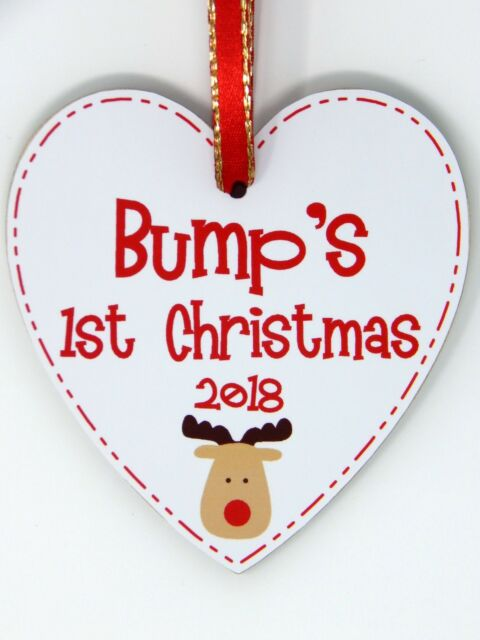 c2186ead46d74 Bump's First Christmas Reindeer Tree Decoration 1st Xmas Bauble Bump Plaque  Gift