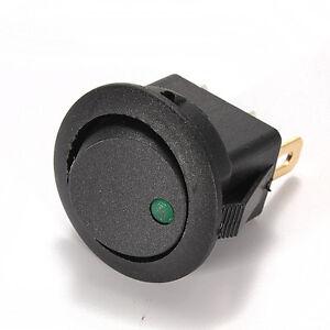 10x-Interruptor-Circular-Negro-Led-12V-Verde-Green-Modo-B-Encendido