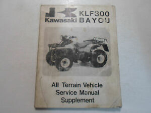 1988 Kawasaki KLF300 BAYOU ATV Service Manual Supplement FADED DAMAGED OEM DEAL