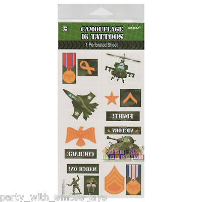 Army Tattoos - Birthday Supplies Camouflage Tattoos Boys - Army Jet Planes Fun
