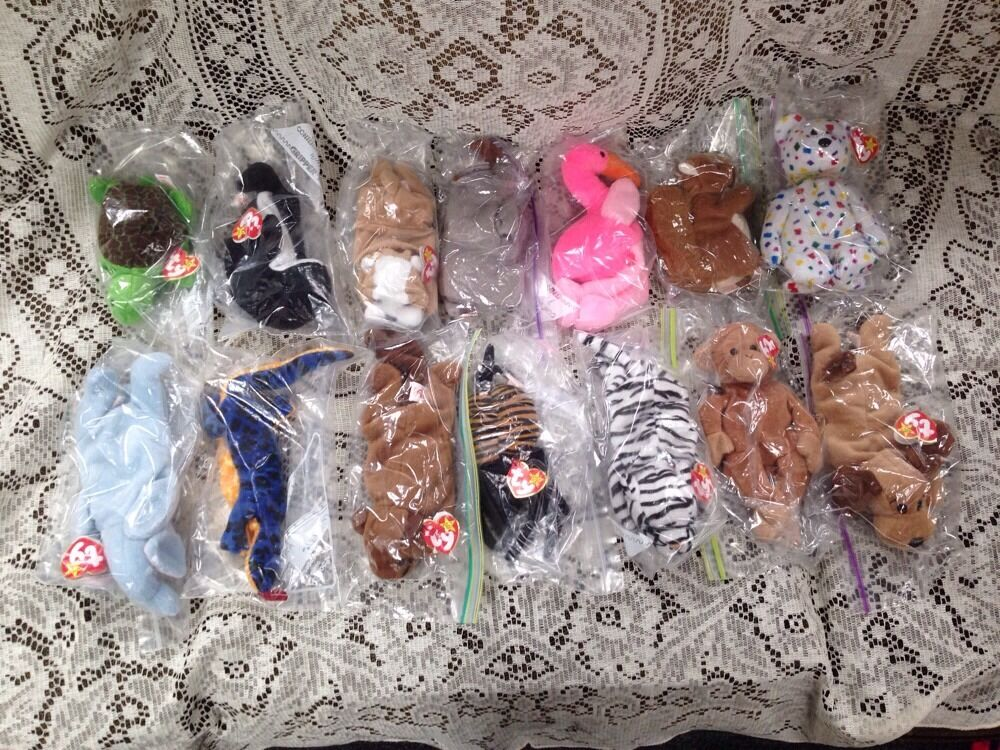 Huge Lot Of Beanie Baby Ty All Pvc Retired Rare Pinky Lizzy Peanuts Speedy Waves