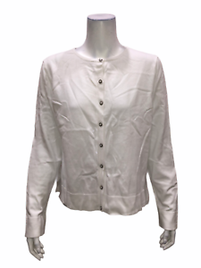 Isaac-Mizrahi-Women-039-s-Essentials-Long-Sleeves-Cardigan-Top-White-Large-Size