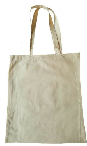 """Cotton Reusable Grocery Shopping Tote Bags Natural Eco Friendly Plain 14 x 16/"""""""