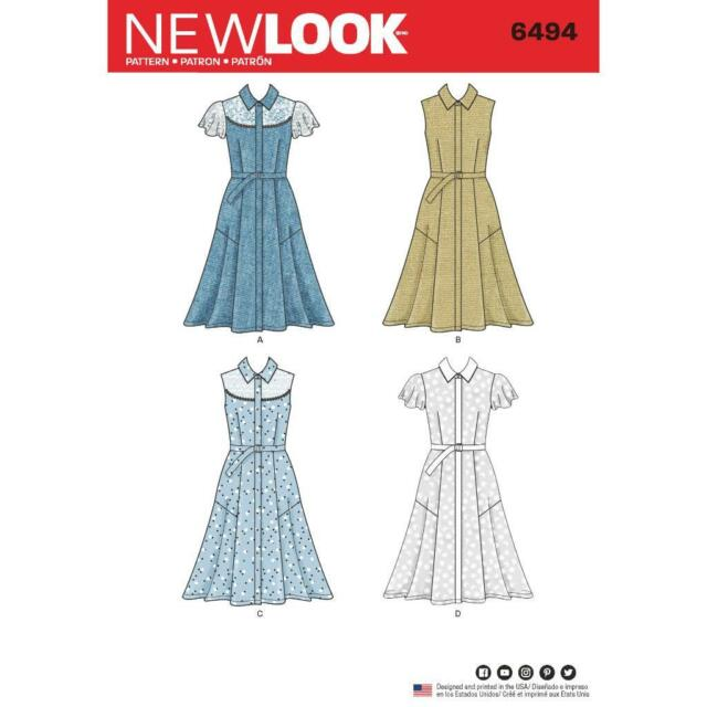 LOOK Sewing Pattern Misses Plus Shift Dress With Variations 6494 Sz ...