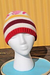 Pretty Knit Beanie Hat skull Cap, Plum Pink Stripe FREE SHIPPING!