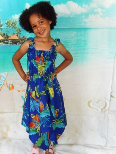 Girls kids Blue Parrot Tree tropical Hawaiian Christmas fancy dress Size 2-5 yrs