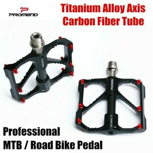 PROMEND Carbon Fiber Titanium Bicycle MTB Road Bike Pedals Sealed 6 Bearing 200g