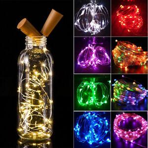 2-m-20-LED-Noel-bouteille-liege-Nuit-FEE-Cable-Fil-clair-Fete-Hotel-DIY-Decor