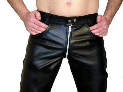 Lederhose W32 Gay Jeans In Pelle Nero 46 Durchgeh. Zip Leather Pants Trousers 32-mostra Il Titolo Originale