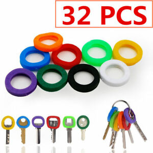 32x Multi Colors Hollow Silicone Key Cap Covers Topper Keyring With Bly Braille