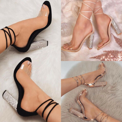 UK Women Clear Strap Shoes Strappy Tie Up Crystal Block High Heels Sandals Party
