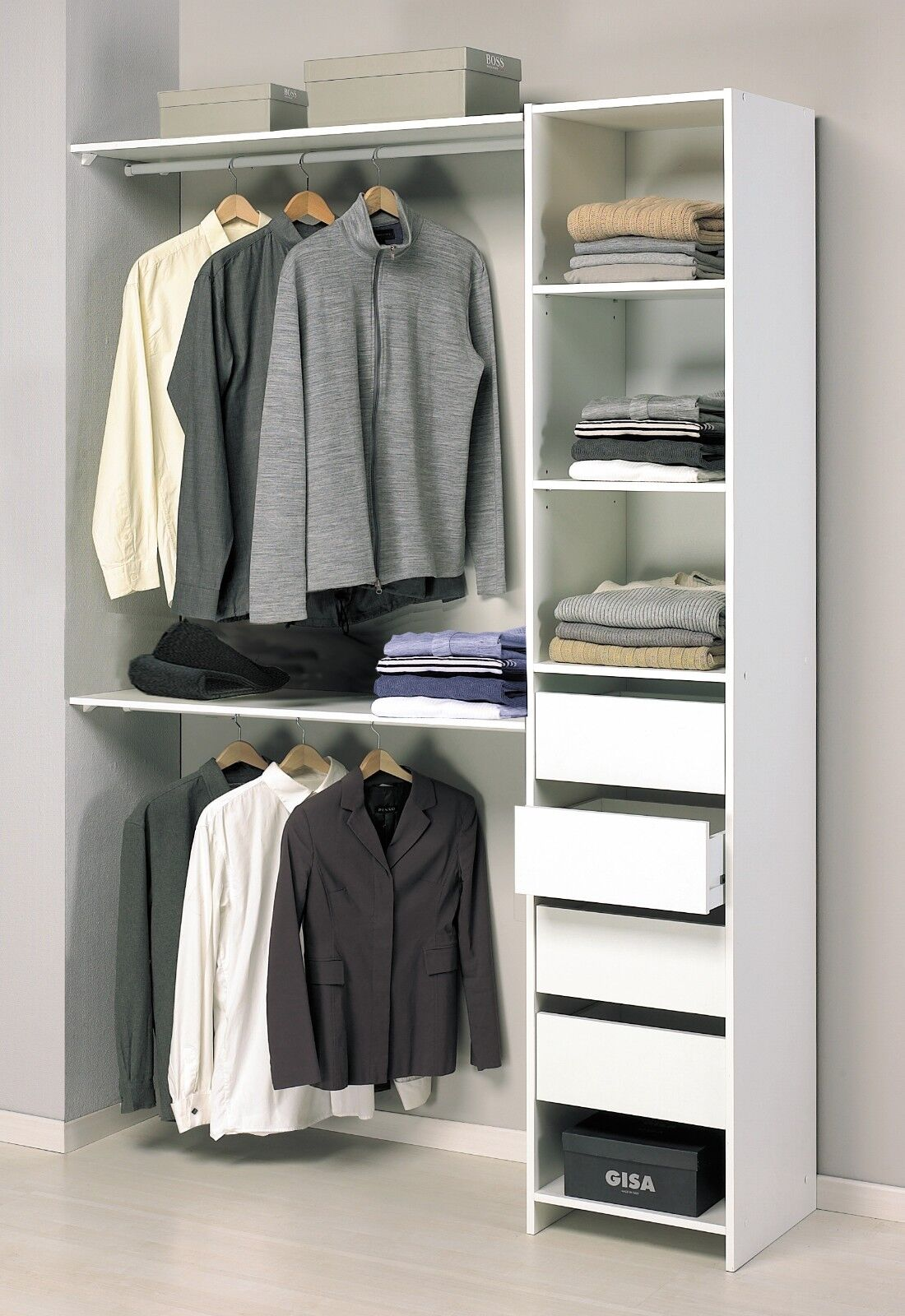 Armario ropero blanco auxiliar sin puertas de dormitorio o almacenaje auxiliar blanco 203x141cm e94763