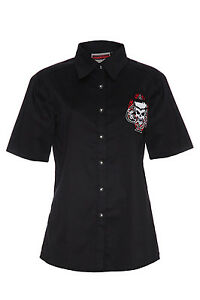 Herren-schwarz-Rockin-039-asse-Flamin-039-Schaedel-Gothik-Shirt-Tops-Gothic-Punk-Emo