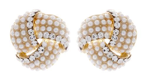 Clip de oro en pendientes Moño Arito Con Cristales Y Perlas-Amelia