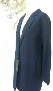 Oui 12 Rrp Fit £249 Cotton Relaxed Coat Navy Textured Unlined Size qxv1wr7Bq