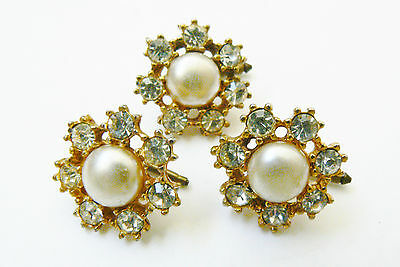 VTG  PAUL SARGENT DECO CUFFLINKS BUTTON SET OF 3 PEARL FAUX CRYSTAL FLORAL