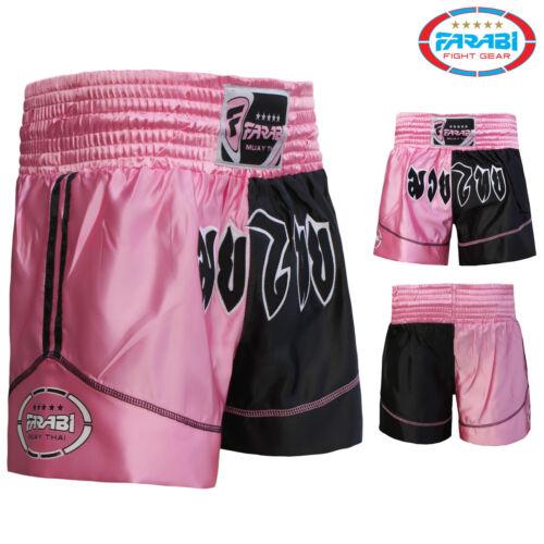 Muay Thai Shorts Silk fabric MMA Kick Boxing Shorts Black and Pink