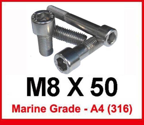 A4//316 M8 x 50 Marine Grade Stainless Allen Bolts 8mm x 50 A4 Socket Cap x5
