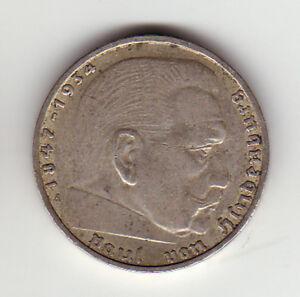 2 Mark Reichsmark 1937 A Paul Von Hindenburg Deutsches Reich Silber