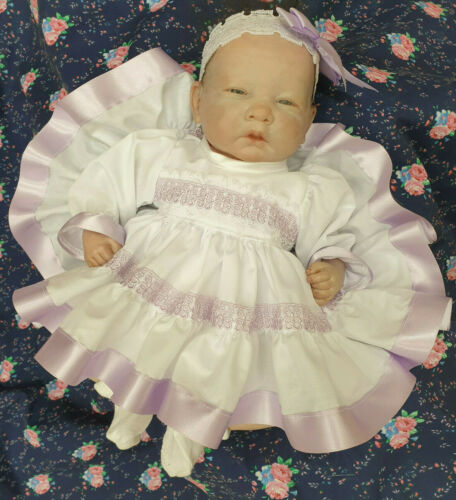 "DREAM 3-5 lb EARLY BABY WHITE LILAC FRILLY DRESS HBD  OR  14-16/"" REBORN DOLLS"