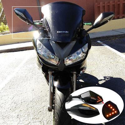 White Custom LED Mirrors Turn Signals Fit Kawasaki ZX-6R 2003-2004 BS1