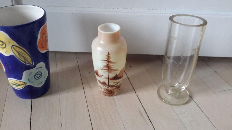 Glas, Vase blåt glas, Glas vase