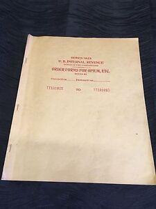 Rare 1932 US Internal Revenue Service Duplicate Order Form Opium Booklet