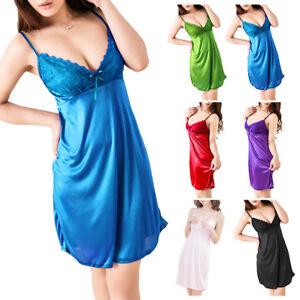 0ed662cff4 Image is loading Women-Sexy-Satin-Silk-Babydoll-Lace-Robes-Sleep-