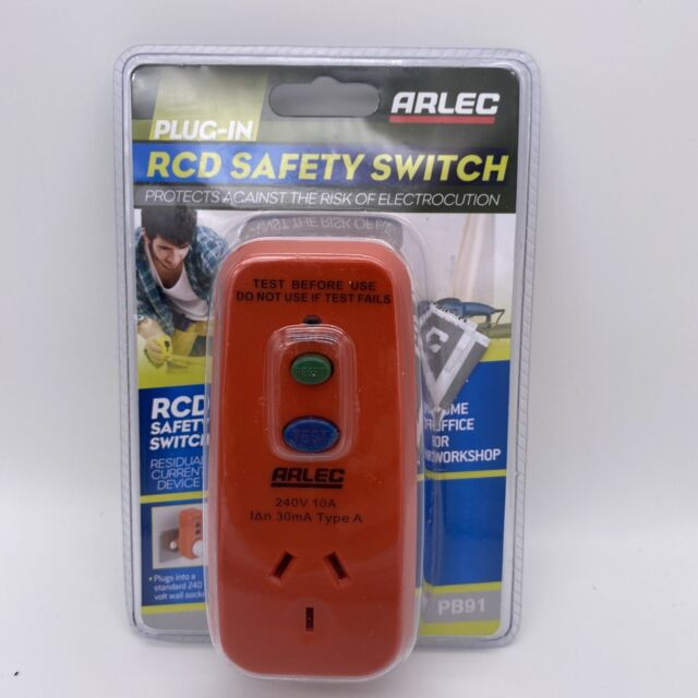 Arlec Plug in RCD Safety Switch Protects Against the risk of electrocution