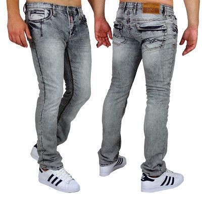 Rusty Neal Herren Jeans Quebec Regular Fit Used Look R Neal Grau Dicke Nähte | eBay