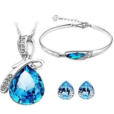Caratcube Blue Water Drop Style Austrian Crystal Pendant Set|Earrings & Bracelet