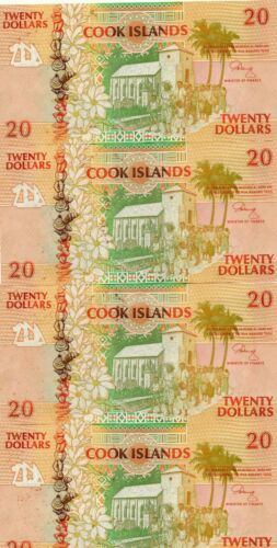 COOK ISLANDS UNC 20 Dollars 1992 p-9 with foxing