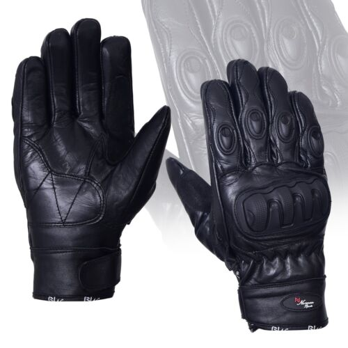 New Black Short Leather Knuckle Protection Motorbike Motorcycle Gloves S