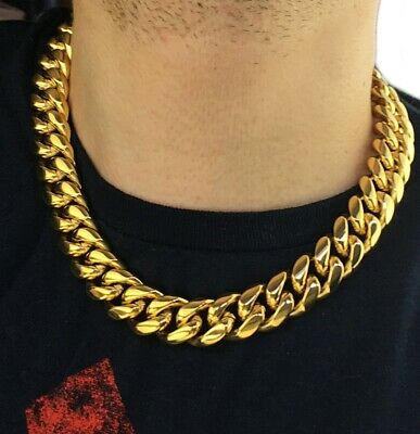 Cy-Trendy Mens 24K Yellow Gold Plated 9 mm Cuban Curb Chain Link Necklace 20-30 INCHES