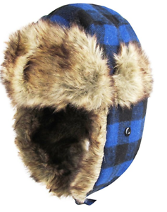 Image is loading Buffalo-Plaid-Trapper-BLUE-Bomber-Hat-Winter-Accessory- b9219df5726