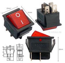 Beleuchteter Wippschalter rot 12V 35A EIN-AUS Schalter Lichtschalter #MK621r