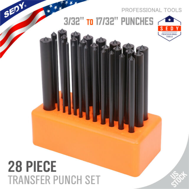 "1//2/"" by 64ths /& 17//32/"" 3//32/"" 28 Piece Transfer Punch Set NTP"