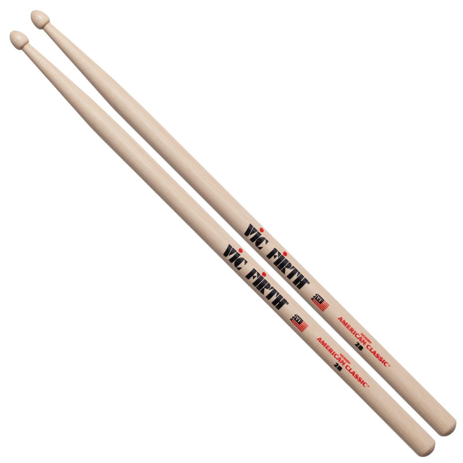 Vic Firth 2B Wood Tip Drum Sticks - 1 pair, 2 pairs, 6 pairs, 12 pairs