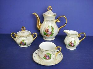 Teapot-Cream-Sugar-Tea-Cup-Set-Lusterware-Victorian-Courting-Couple