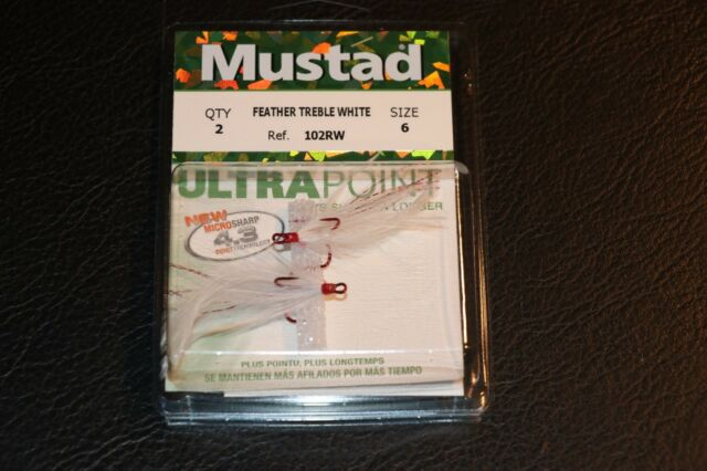 Mustad 102RW Size 2 4 6  WHITE  Dressed Feather Treble Hooks Pack of 2