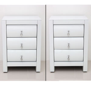 Image Is Loading 2pcs High Gloss White Bedside Tables 3 Drawer